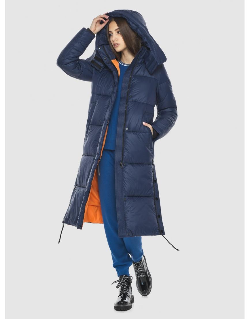 Тёплая подростковая куртка Vivacana зимняя синяя 7654/21 фото 5