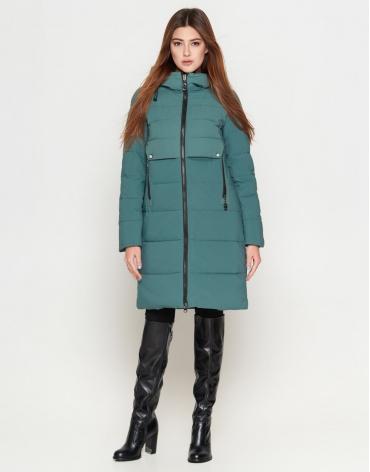 Зеленая куртка женская молодежная удлиненная модель 25465