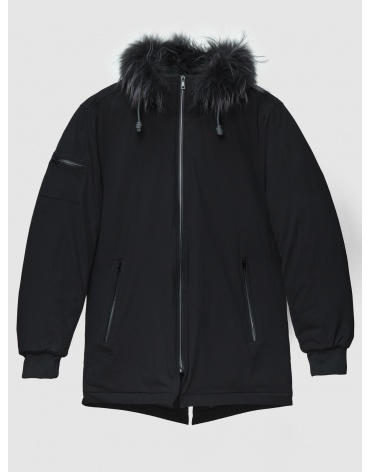 52 (XL) – последний размер – парка с меховой опушкой чёрная MOC мужская для зимы 200022 фото 1