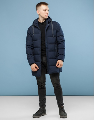 Современная темно-синяя куртка модель 6002 оптом