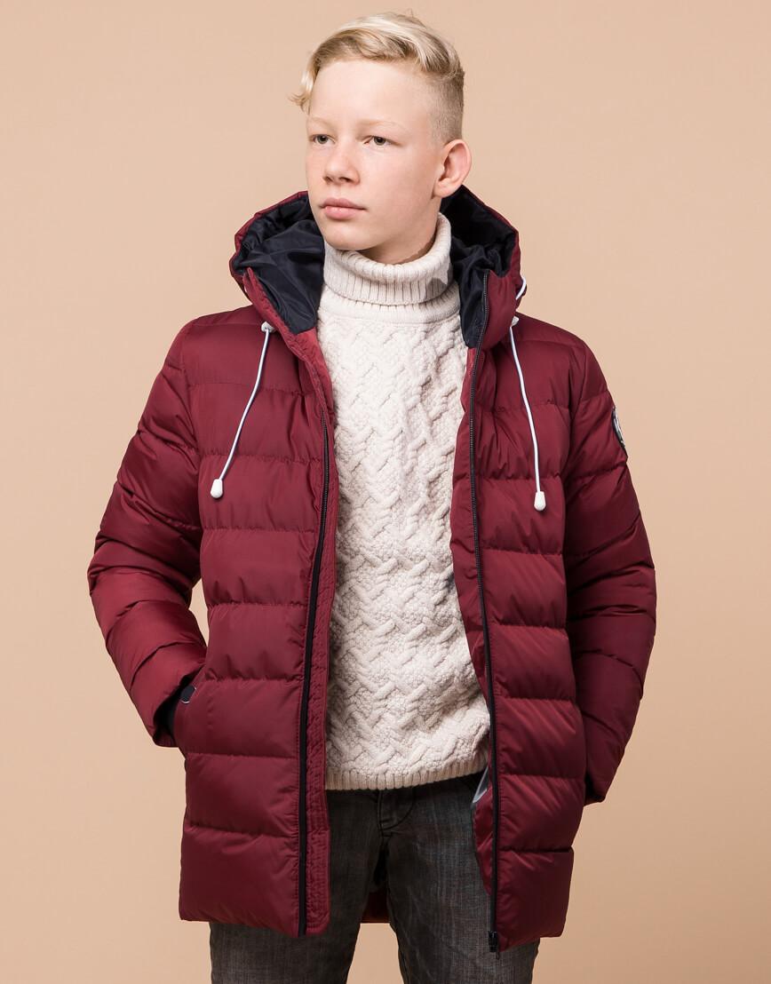 Куртка бордовая детская модная модель 65028 оптом фото 2