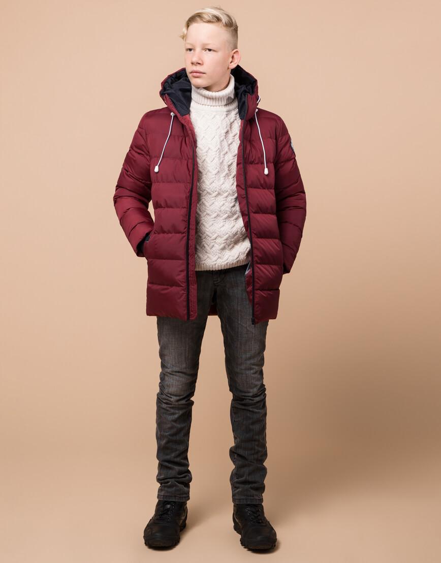 Куртка бордовая детская модная модель 65028 оптом фото 3