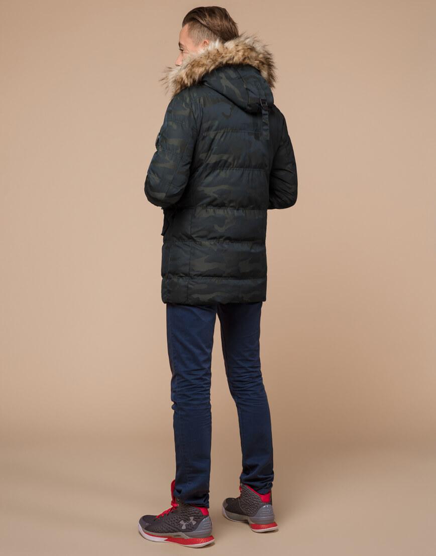 Стильная дизайнерская темно-зеленая молодежная куртка модель 25450 фото 4