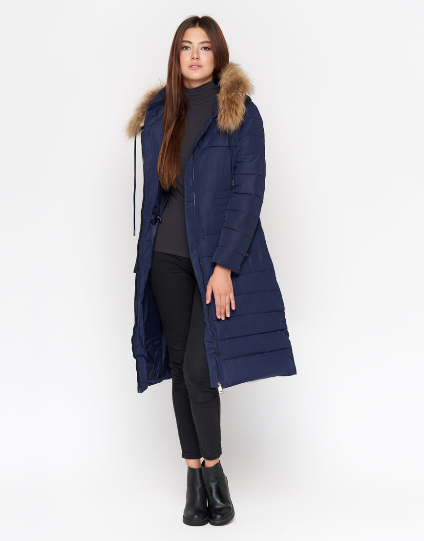 Брендовая женская куртка синяя модель 9615
