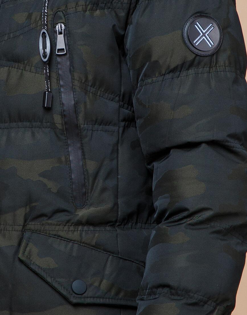Стильная дизайнерская темно-зеленая молодежная куртка модель 25450 фото 6
