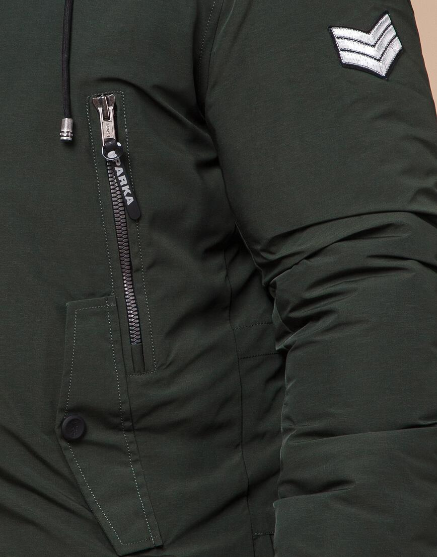 Парка цвета хаки мужская зимняя модель 19058 оптом