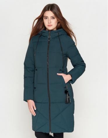 Молодежная женская стильная куртка бирюзового цвета модель 25205