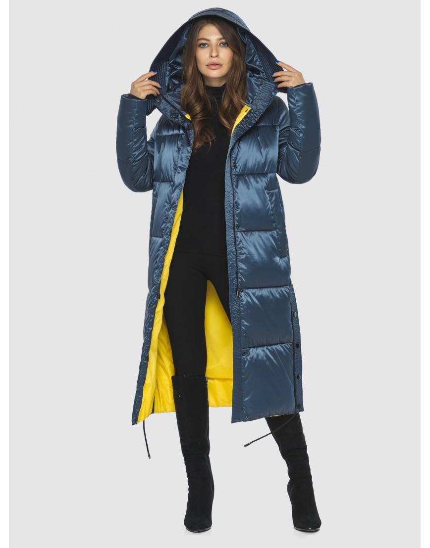 Модная зимняя куртка подростковая синяя женская Ajento 23160 фото 2