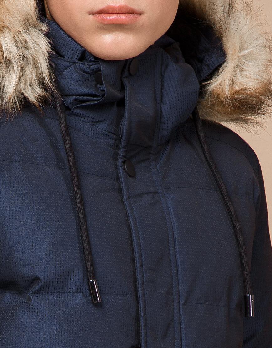 Дизайнерская зимняя куртка темно-синяя комфортная модель 25510 фото 5