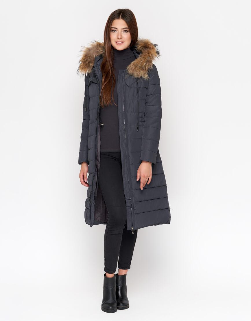 Женская куртка серая дизайнерская модель 9615 фото 2