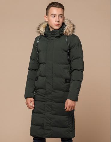 Брендовая темно-зеленая куртка молодежная модель 25590 фото 1