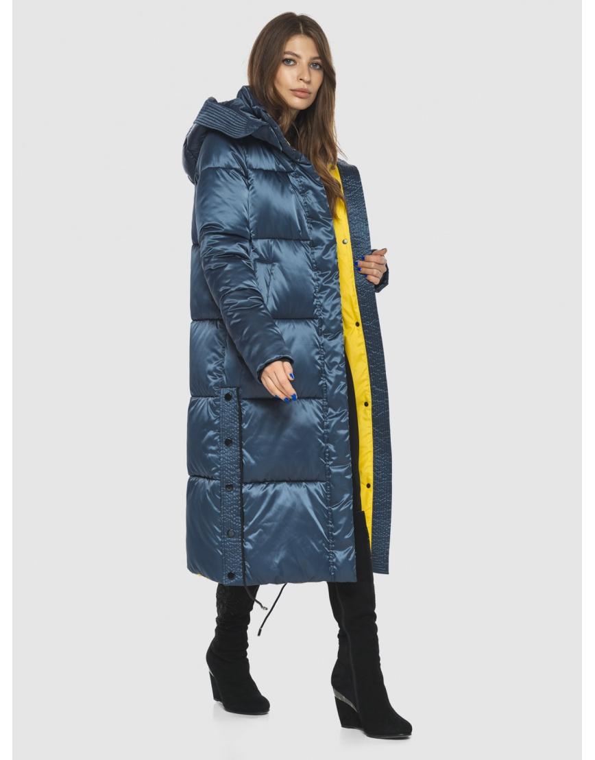 Модная зимняя куртка подростковая синяя женская Ajento 23160 фото 6