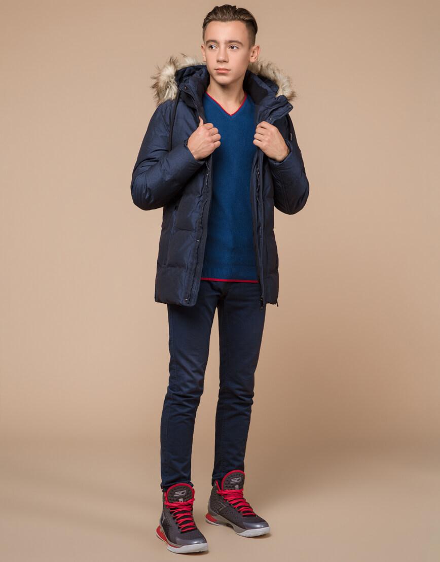 Дизайнерская зимняя куртка темно-синяя комфортная модель 25510 фото 3