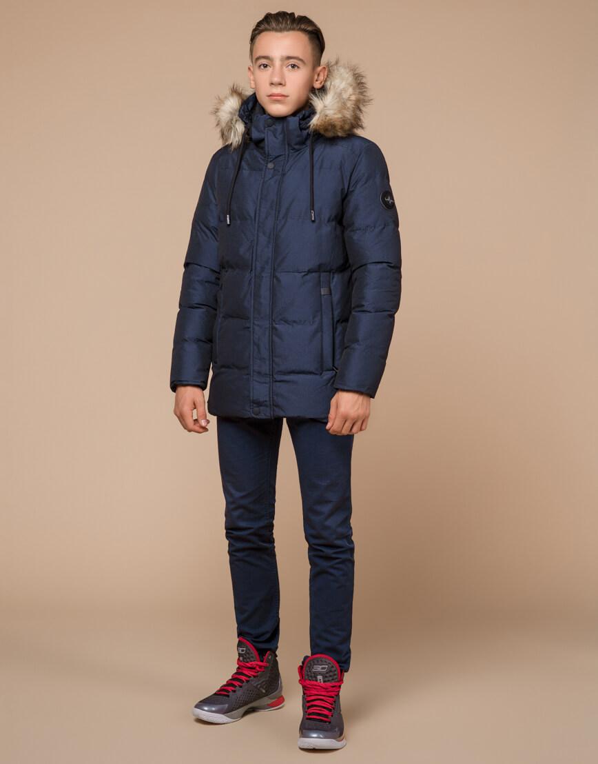 Дизайнерская зимняя куртка темно-синяя комфортная модель 25510 фото 2