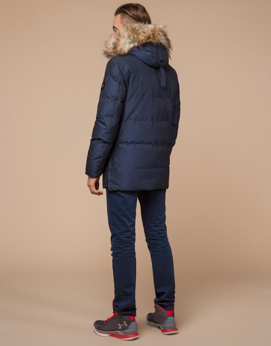 Дизайнерская зимняя куртка темно-синяя комфортная модель 25510 фото 4