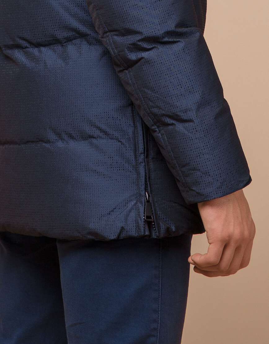 Дизайнерская зимняя куртка темно-синяя комфортная модель 25510 фото 7