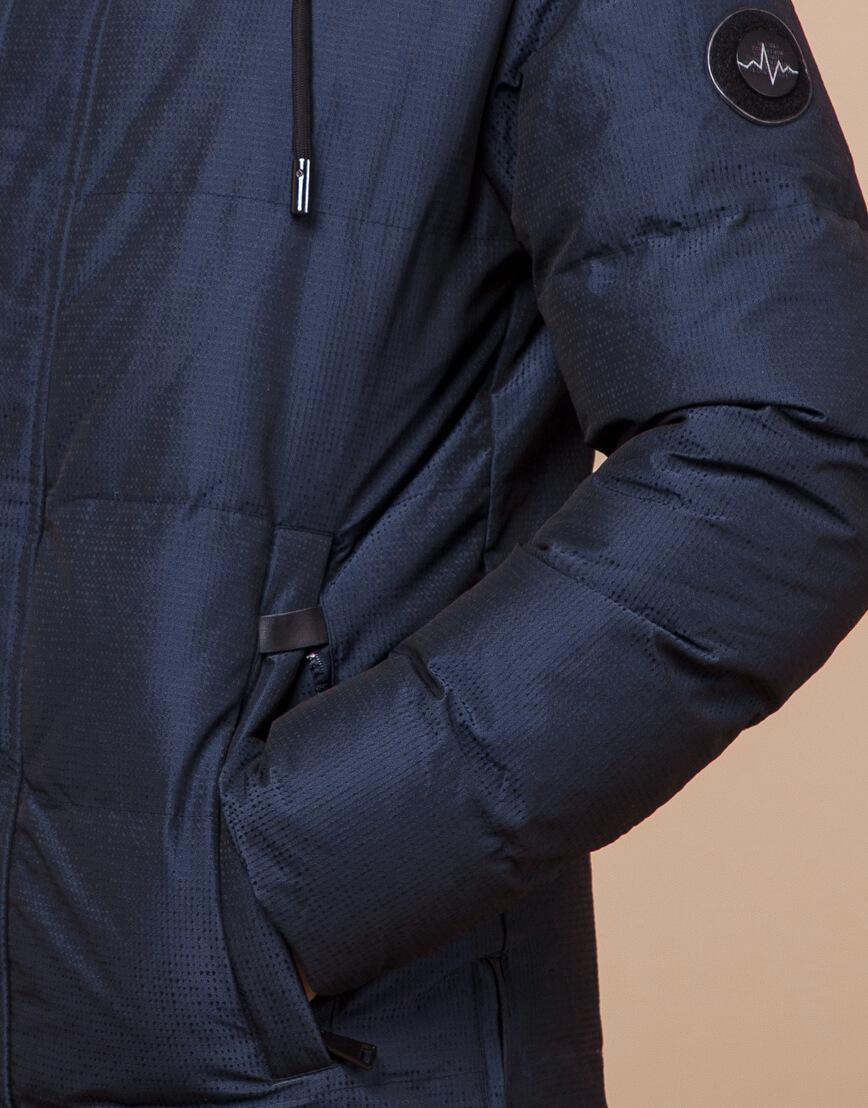 Дизайнерская зимняя куртка темно-синяя комфортная модель 25510 фото 6