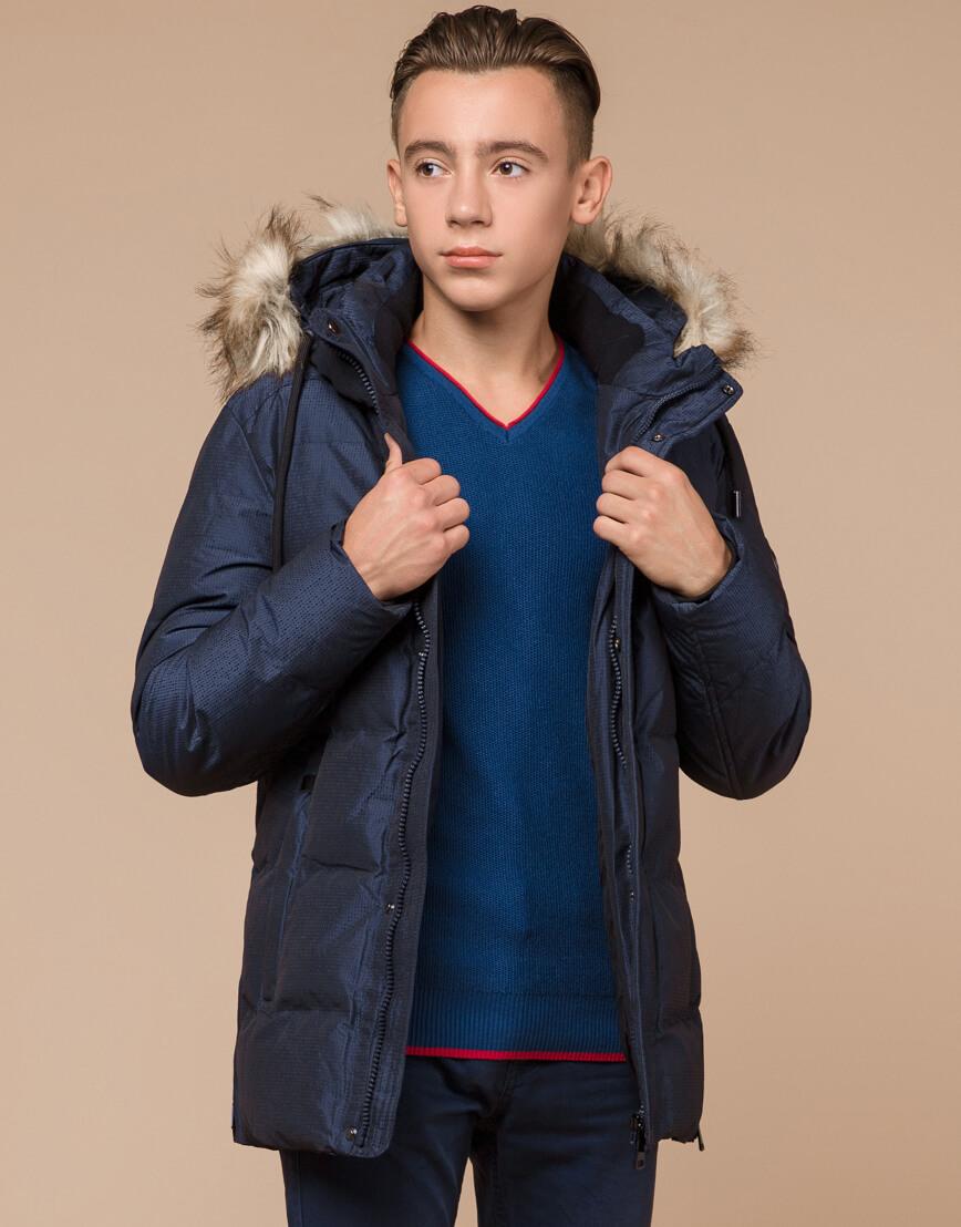 Дизайнерская зимняя куртка темно-синяя комфортная модель 25510 фото 1