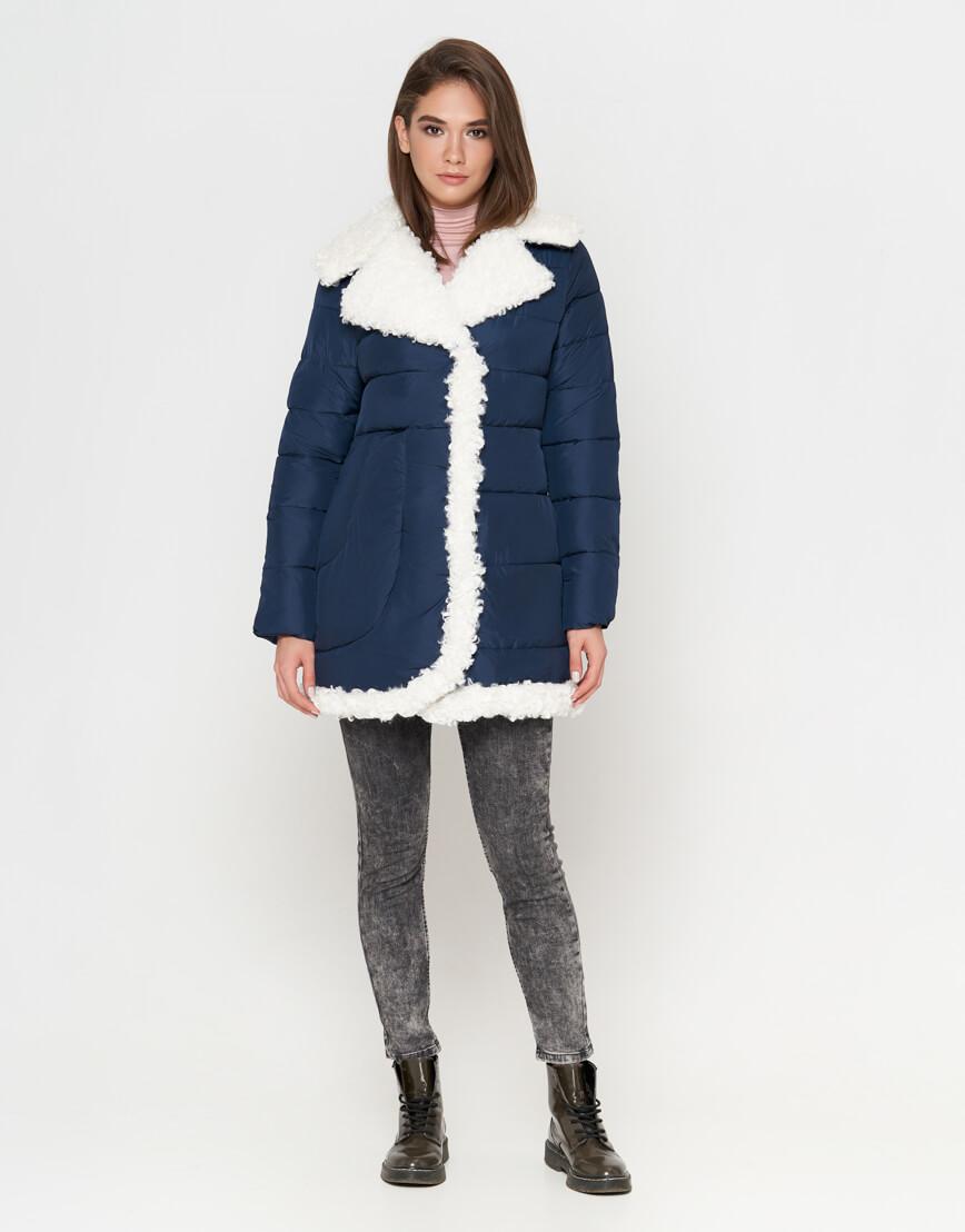 Синяя куртка на зиму женская модель 2162 фото 2