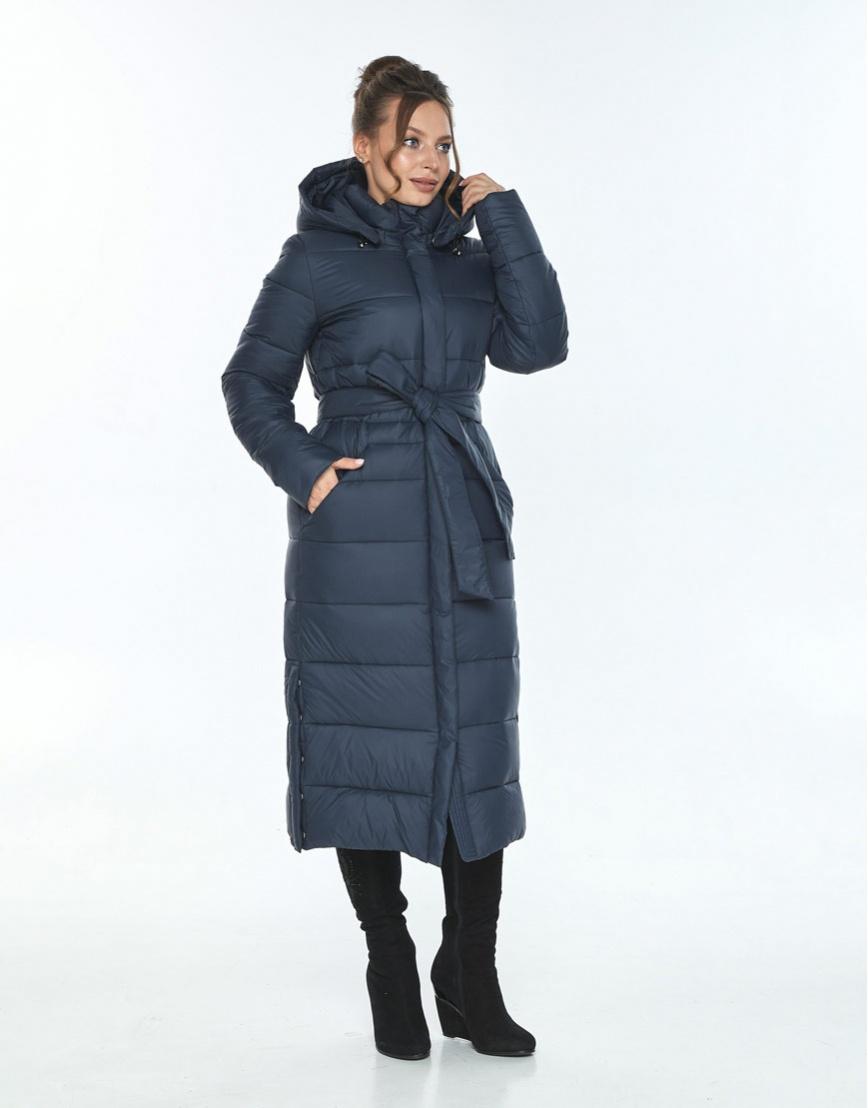 Куртка длинная женская Ajento для зимы синяя 21207 фото 2