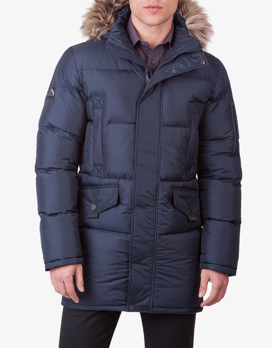 Куртка отличная брендовая темно-синяя модель 1005