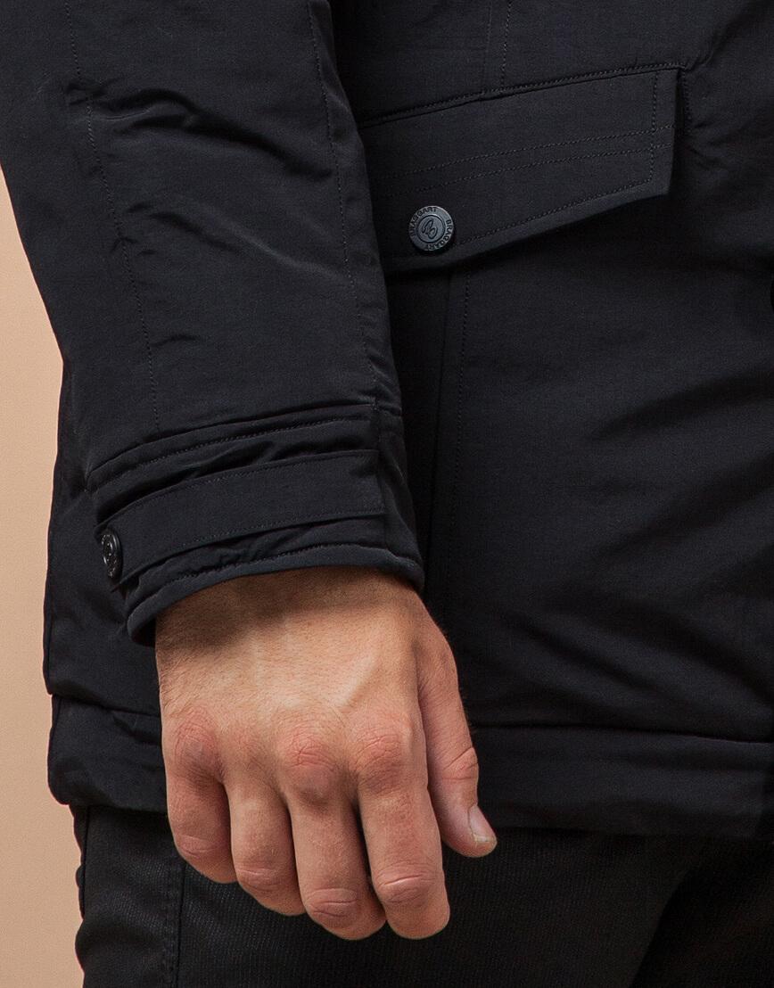 Парка зимняя стильная с опушкой черная модель 3986