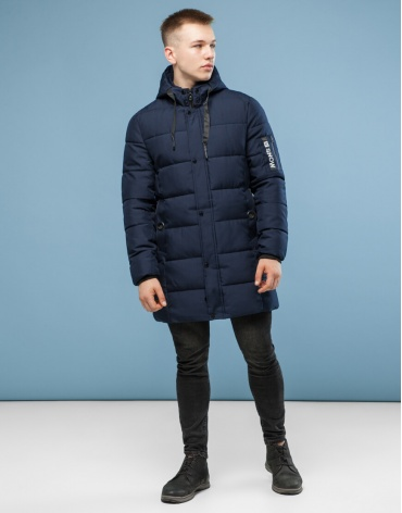Комфортная темно-синяя куртка модель 6003 оптом