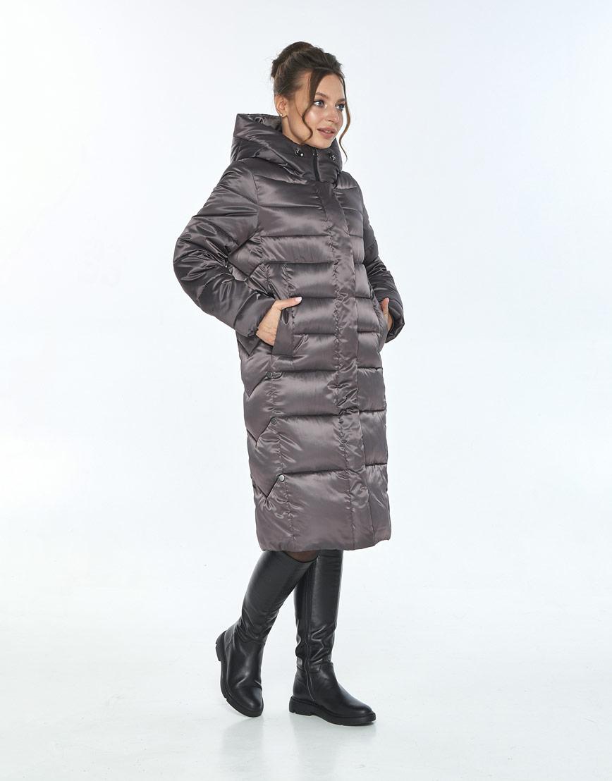 Трендовая куртка женская Ajento зимняя капучиновая 22975 фото 2