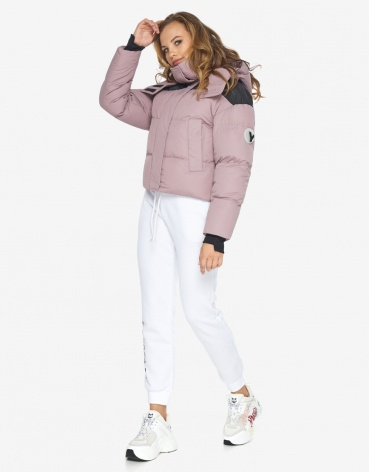 Куртка пуховик Youth женский пудровый короткий модель 24180 фото 1