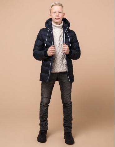 Фирменная сине-черная куртка детская модель 65028 оптом фото 1