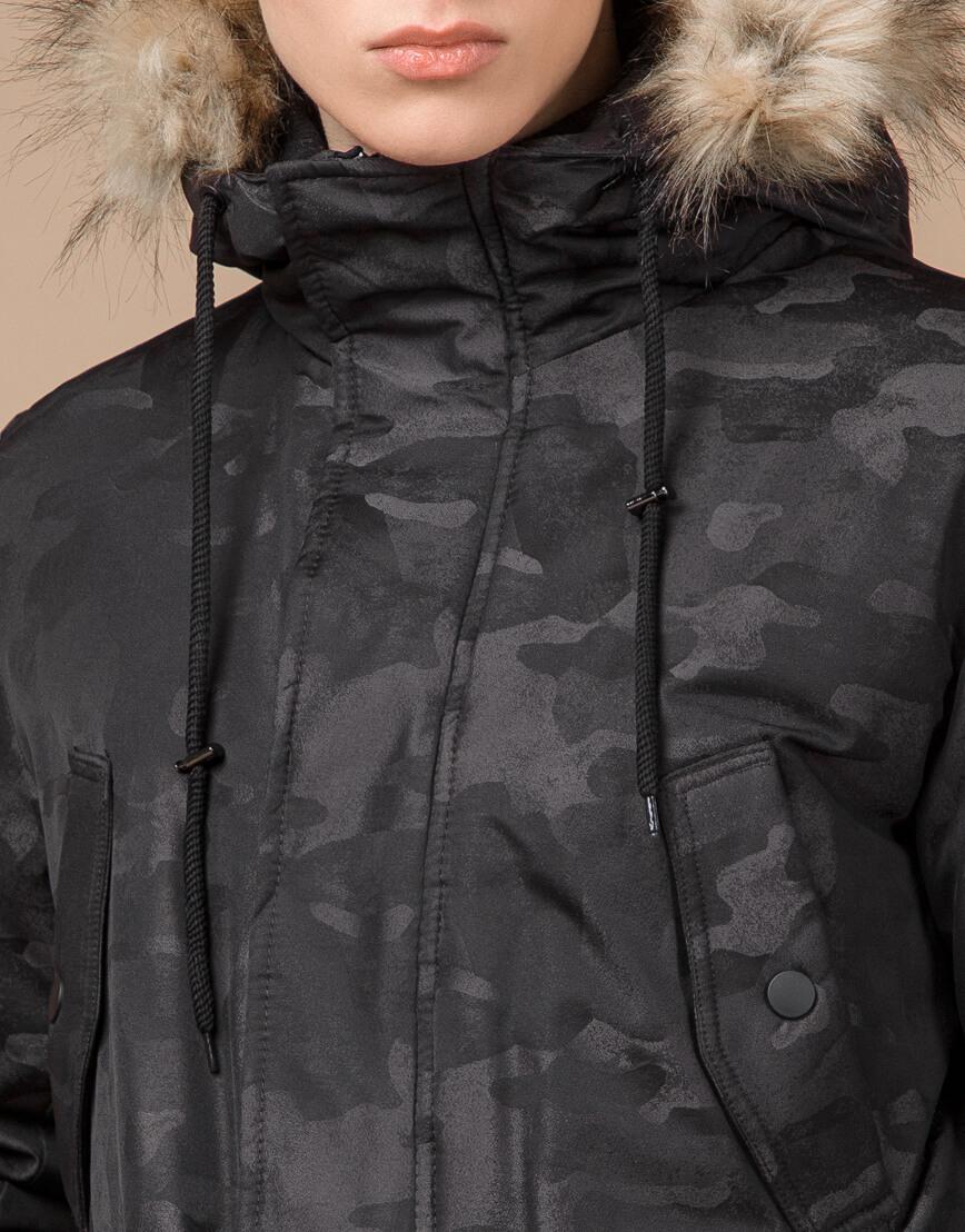 Дизайнерская парка черная зимняя качественная модель 25500 фото 5