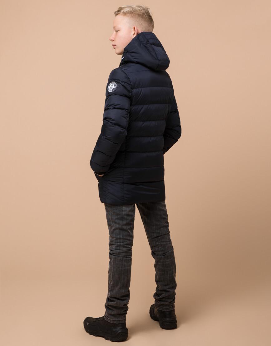 Фирменная сине-черная куртка детская модель 65028 оптом фото 4