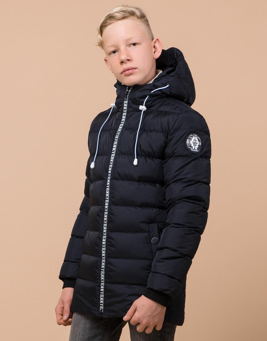 Фирменная сине-черная куртка детская модель 65028 оптом фото 3