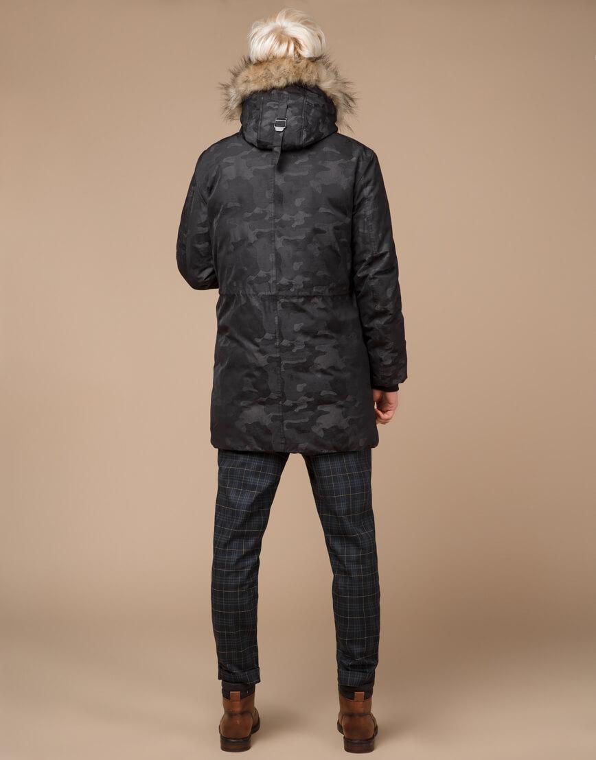 Дизайнерская парка черная зимняя качественная модель 25500 фото 4