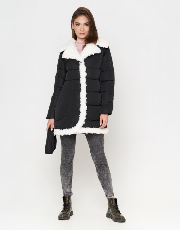 Куртка теплая черная женская модель 2162