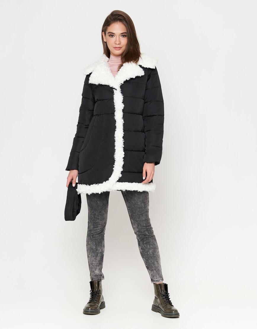 Куртка теплая черная женская модель 2162 фото 1