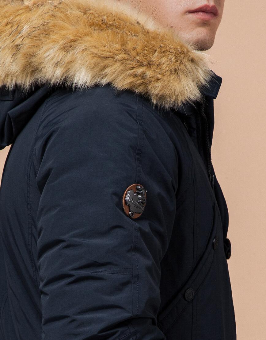Мужская парка зимняя практичная темно-синяя модель 3986