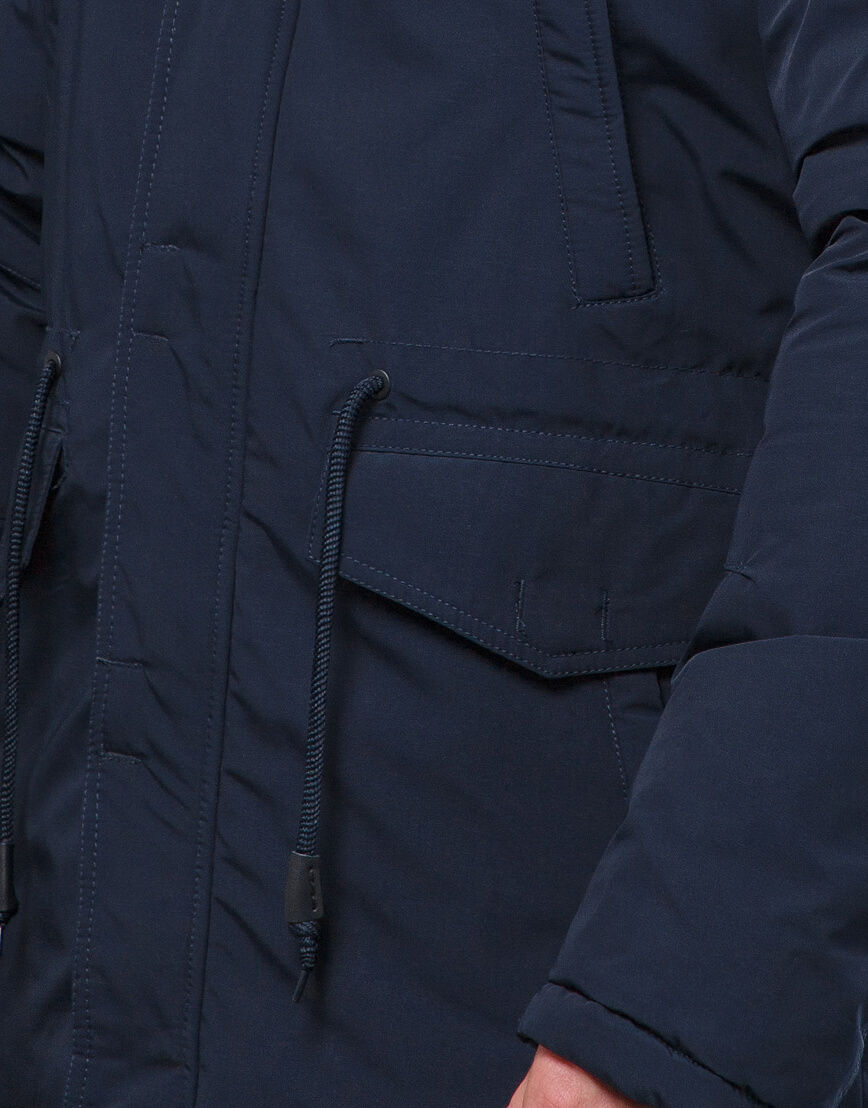 Парка синяя практичная на зиму модель 71360 фото 6