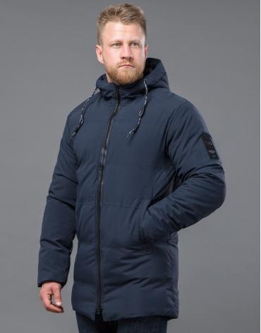 Модная зимняя куртка темно-синего цвета модель 70911 оптом