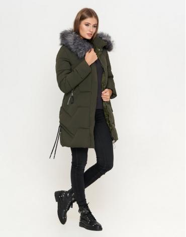 Брендовая куртка женская цвет оливковый модель 6372