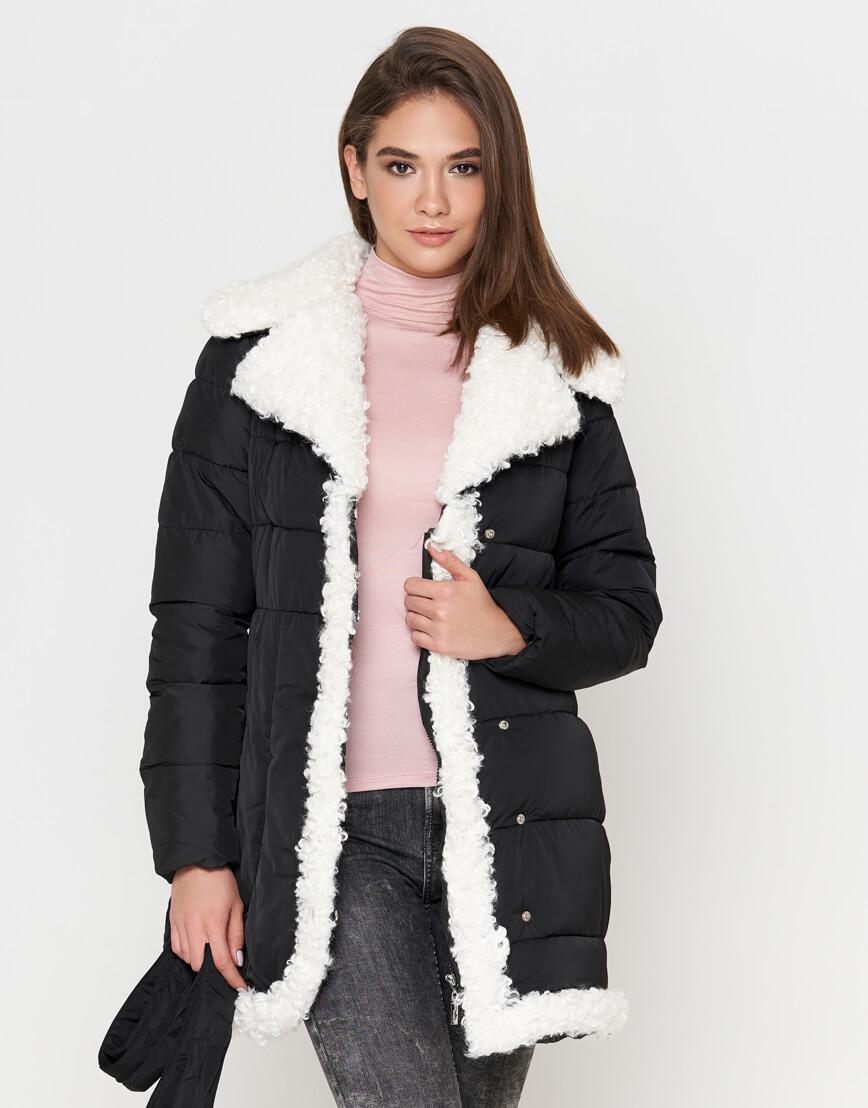 Куртка теплая черная женская модель 2162 фото 2