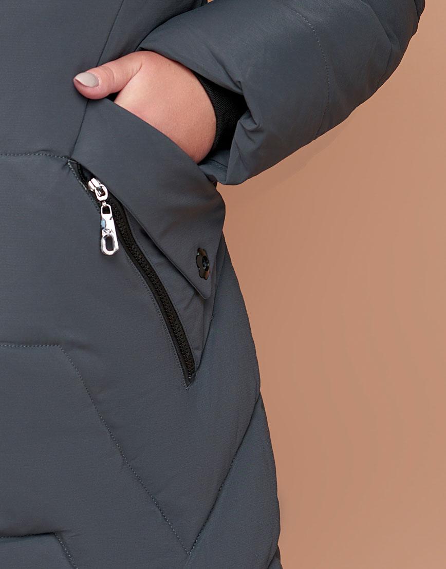 Серо-зеленая куртка женская большого размера модель 25525