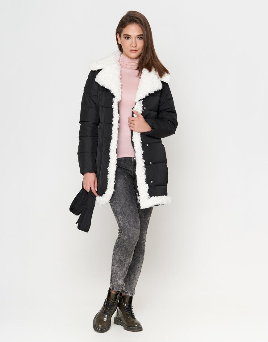 Куртка теплая черная женская модель 2162 фото 3