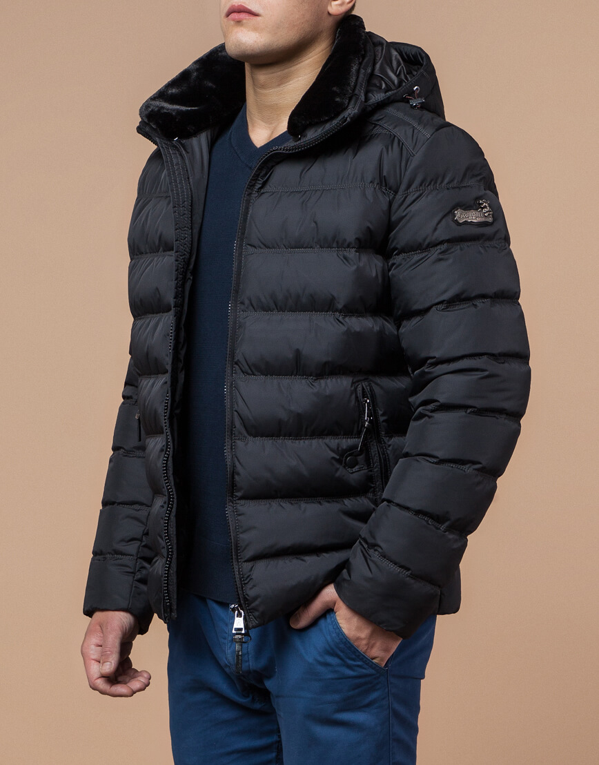 Мужская графитовая куртка на зиму модель 24324 оптом фото 1