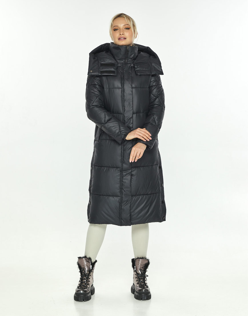 Чёрная длинная куртка женская Kiro Tokao 60024 фото 2