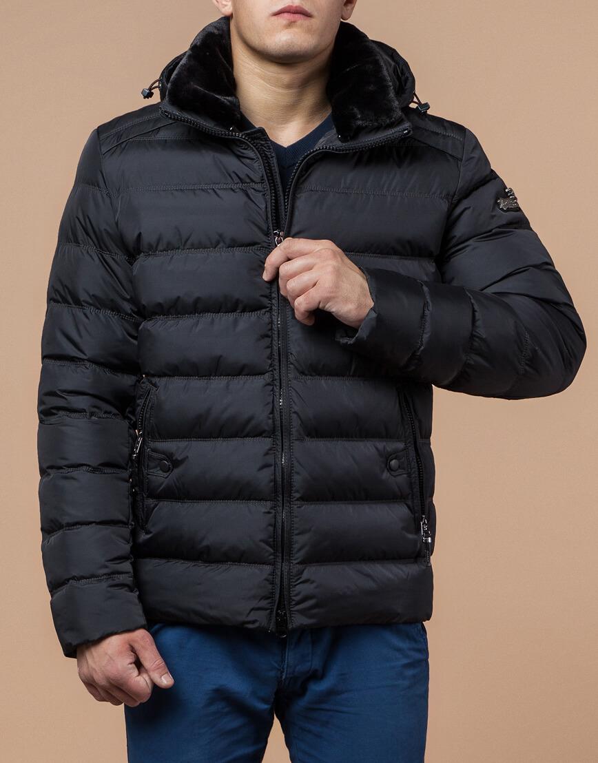 Мужская графитовая куртка на зиму модель 24324 оптом фото 2