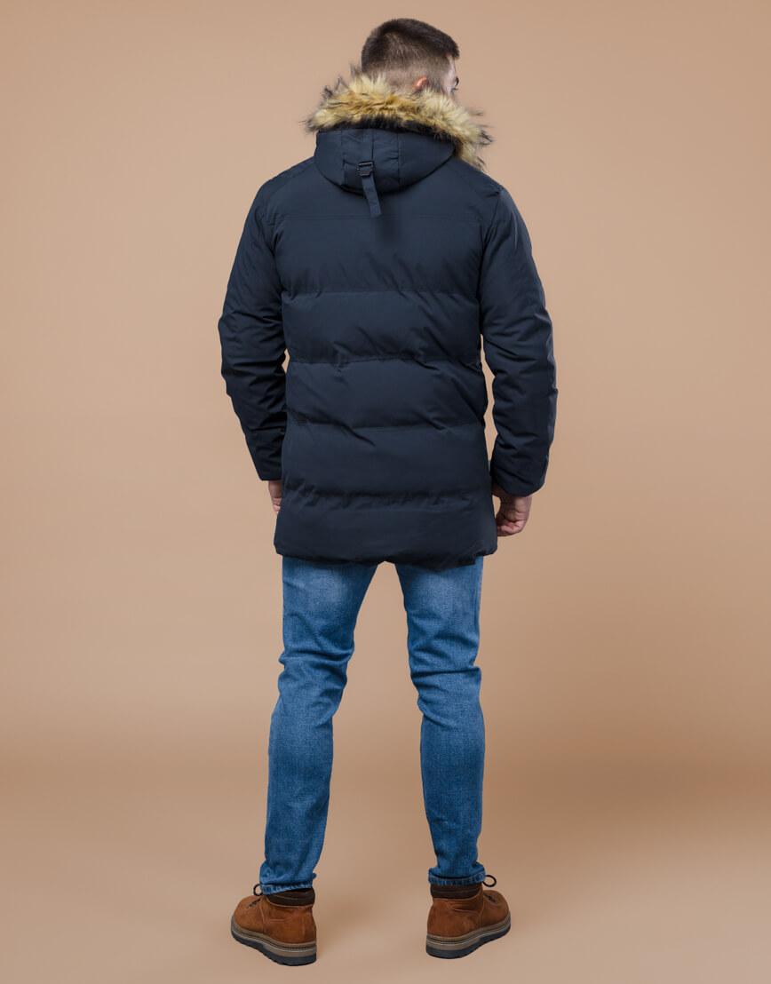 Темно-синяя куртка молодежная оригинальная модель 25270 фото 4