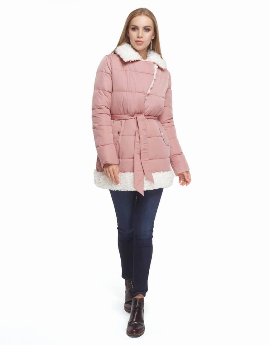 Куртка женская качественная цвет пудра модель 5153