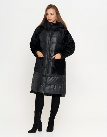 Куртка черного цвета модная женская модель 8853