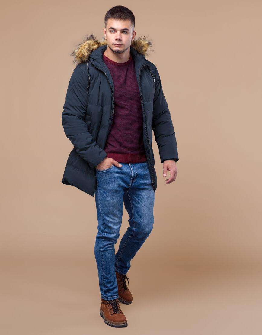 Темно-синяя куртка молодежная оригинальная модель 25270 фото 3
